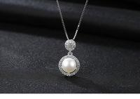 S925 sterling silver natural pearl pendant micro inlaid 3A zircon simple clavicle jewelry accessories gift C05