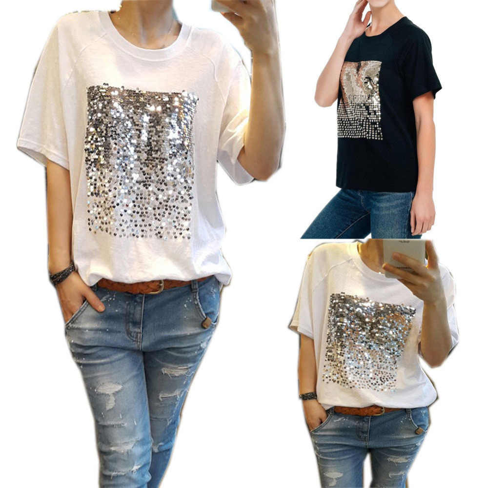 bd88c4c44454e ... Summer Short Sleeve Sequined T Shirt Women Casual Loose Tee Top Black  White Sequins Patch Shirts ...