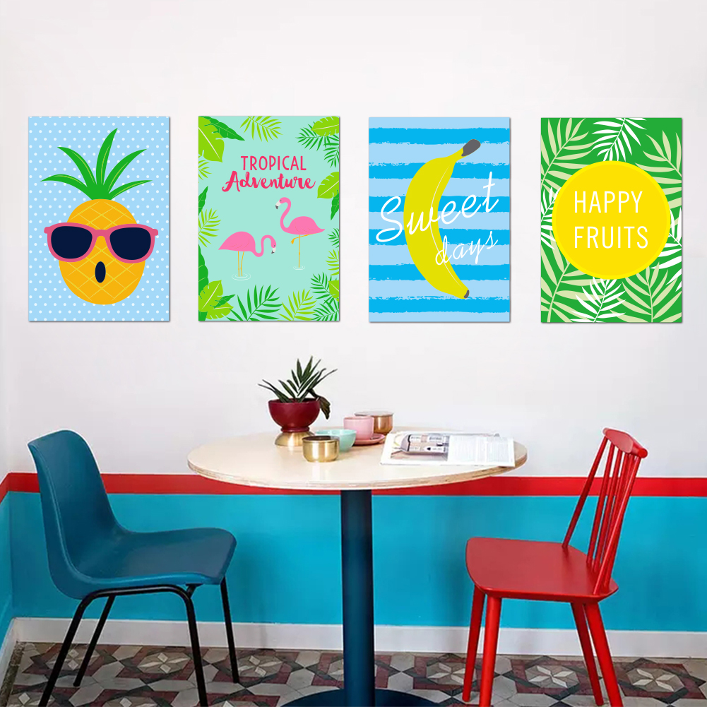 Wall Sticker Pineapple Watermelon banana Food Fruit Funny Picture ...