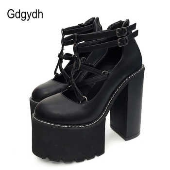 Gdgydh 2019 Fashion Women Pumps High Heels Zipper Rubber Sole Black Platform Shoes Spring Autumn Leather Shoes Female Promotion - DISCOUNT ITEM  40% OFF All Category
