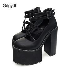 Gdgydh 2019 Fashion Women Pumps High Heels Zipper Rubber Sole Black Platform Shoes