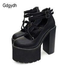 Gdgydh 2021 moda donna pompe tacchi alti cerniera suola in gomma scarpe con plateau nere primavera autunno scarpe in pelle promozione femminile