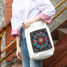 MENOGGA Shopping Bag 2019 New Design Embroidery Floral Pattern Fashion Casual Durable Large Capacity White Tote Bag Canvas Women