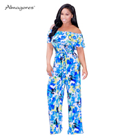 Almagores vintage tie dye painted print off shoulder bandage jumpsuit women rompers ruffle long wide leg pants jumpsuits overall