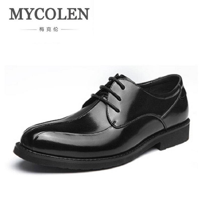 MYCOLEN Luxury Brand Men Flats High Quality Leather Derby Shoes Mens Lace Up Business Dress Shoes Oxfords For Men sapatos high quality men s shoes genuine leather british style mens loafers lace up business men oxfords shoes wedding dress flats shoes