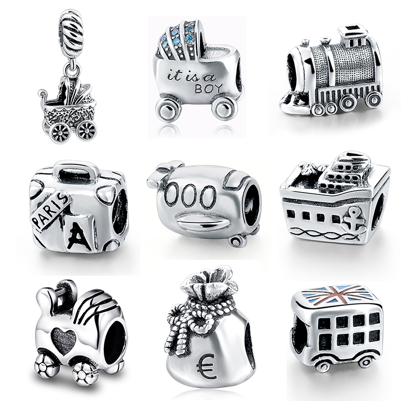 SG Hot 925 Sterling silver Bead Boy Baby Car bus train suitcase purse plane ship charms fit European bracelet for Women Jewelry