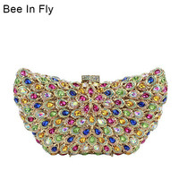 Bee In Fly Women Butterfly Crystal Clutch Bag Hard Case Evening Party Clutch Purse Crystal Bags