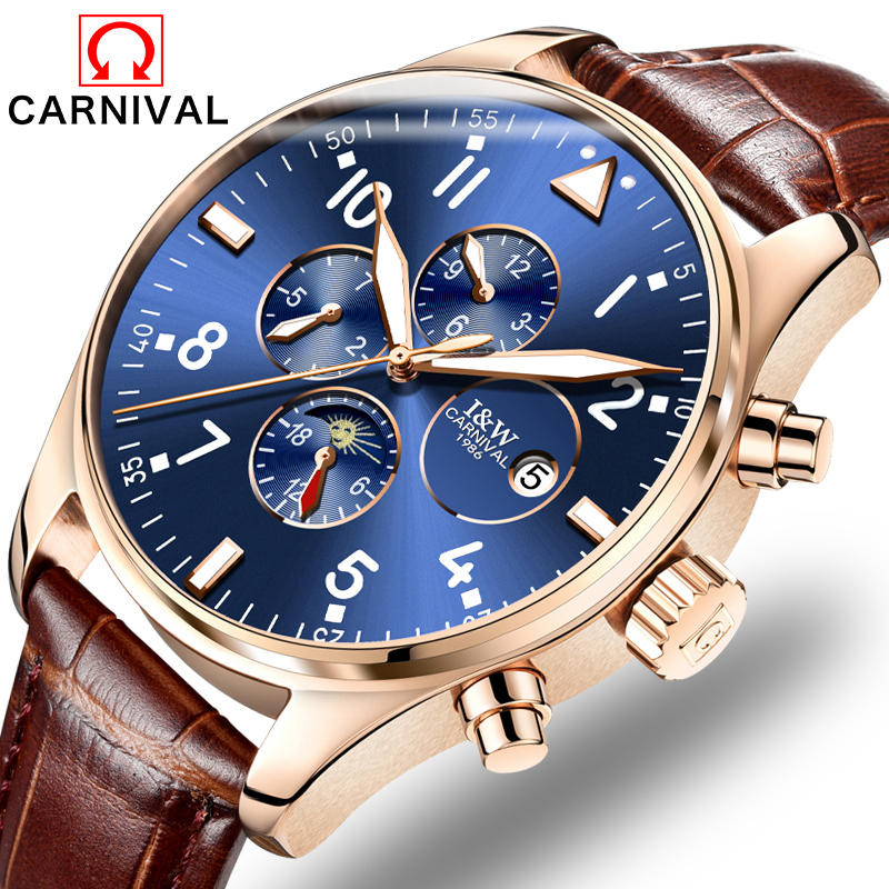 2017 Luxury CARNIVAL Automatic Mechanical Men Watch TopBrand Watch Rose Gold Case Blue Dial Leather Strap relogio masculino