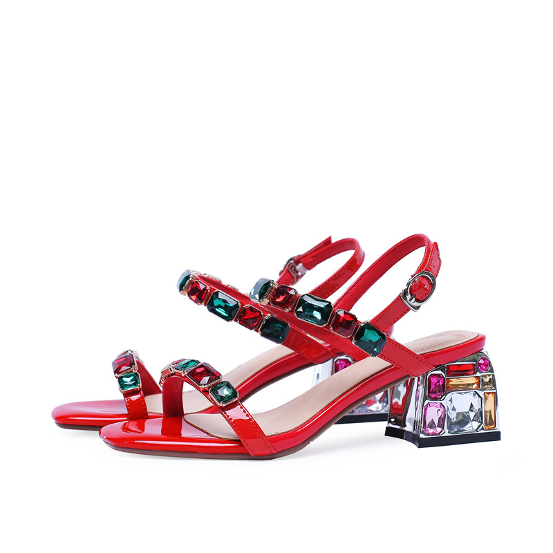MORAZORA 2019 new arrival patent leather sandals women summer shoes crystal buckle Beach shoes simple party wedding shoes woman-in High Heels from Shoes    3