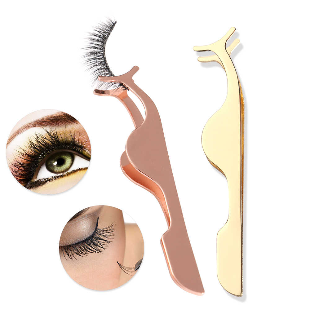 1Pcs Rose Gold Stainless Steel False Eyelash Curler Tweezer Fake Eye Lashes Applicator Clip Remover Makeup Extension Tools