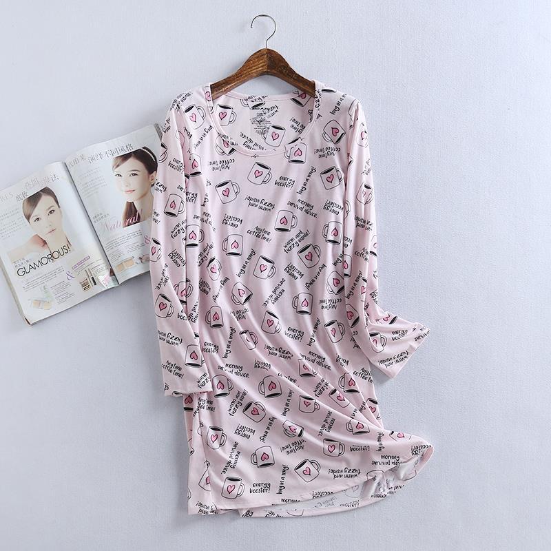 Plus size cartoon pink cups nightdress women nightgowns 100% cotton long sleeves women lovely pyjamas sleepwear winter