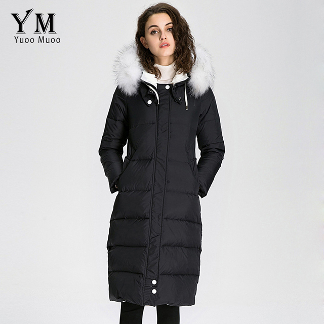 YuooMuoo New Women Coat Winter Long Hoody Fur Collar Thicken Jacket Plus Size Women Parka High Quality