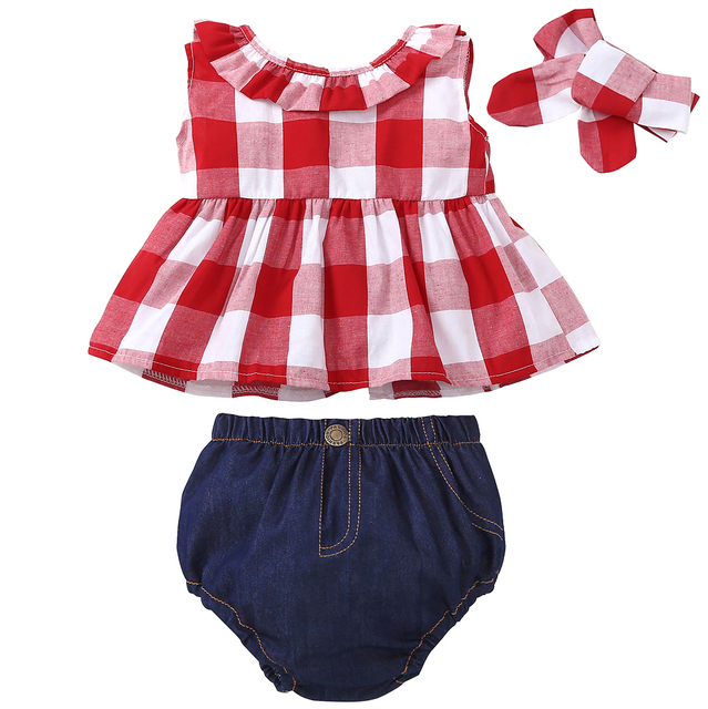 2019 Summer baby girl clothing set Plaid Skirted T-shirt Tops+Denim Short Bloomers Headband  baby girl clothes Newborn Outfits 1