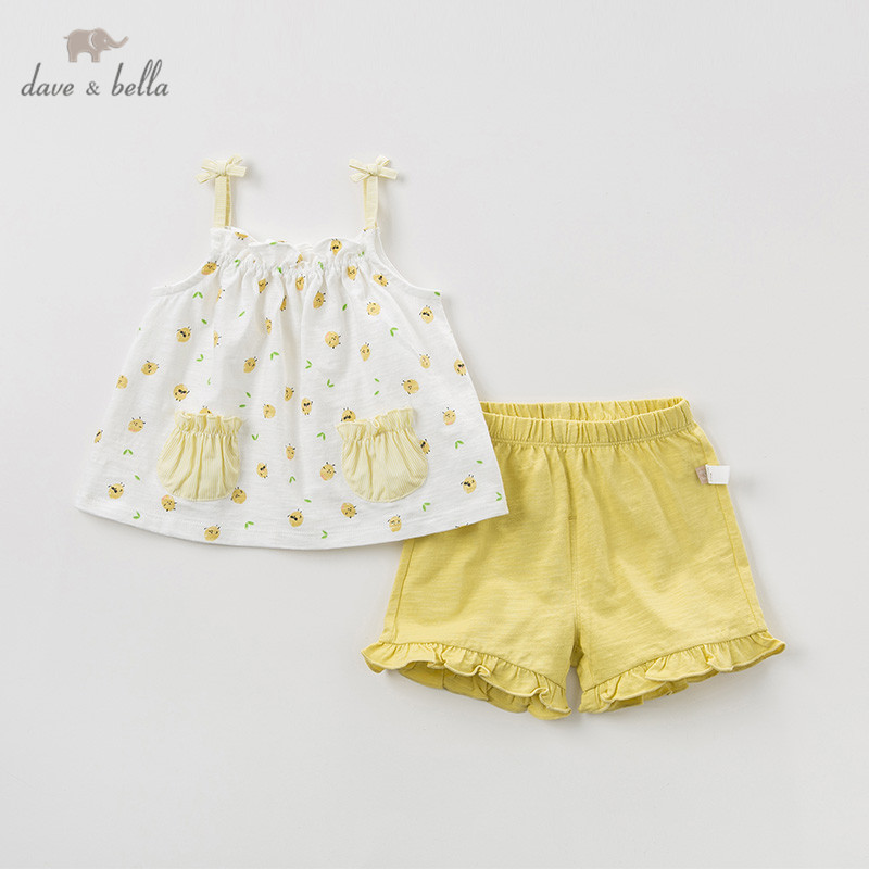 DBZ10636 Dave bella summer baby girls clothing sets children cute fruit suits infant high quality clothes girls pullover outfit
