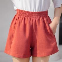 Модные панталоны для женщин, высокая талия, широкие шорты, брюки для женщин, одноцветные, размера плюс XL, хлопок, лен, короткие, повседневные, Spodnie Damskie