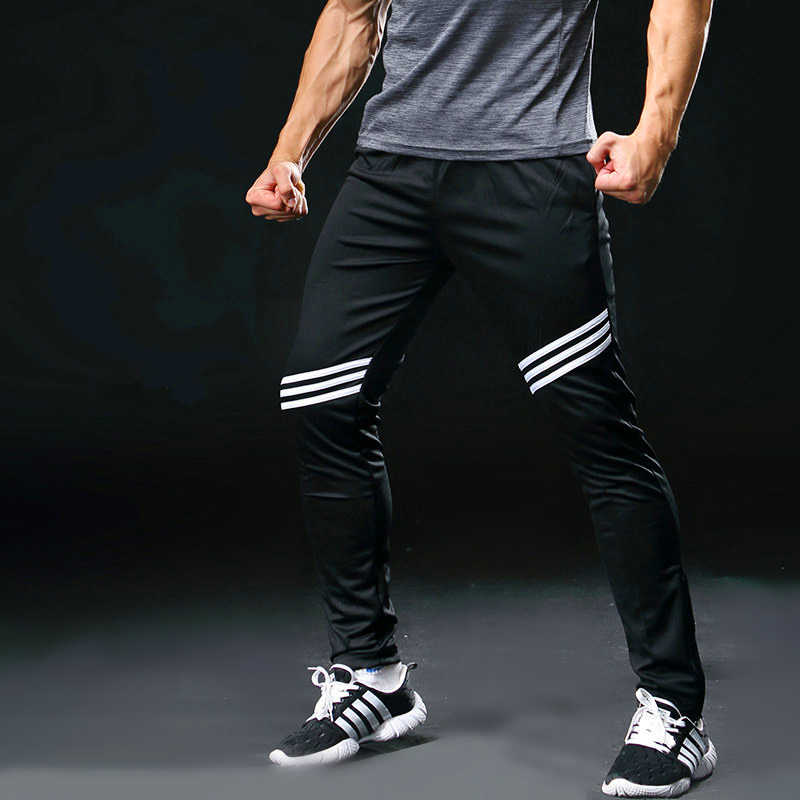 Mens Gym Running Pants Athletic Football Soccer Training Pants Fitness Workout Jogging Quick Dry Running Sport Trousers 323
