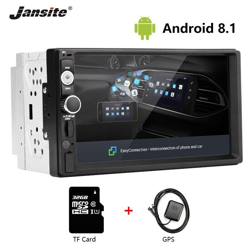 Jansite 2din autoradio Android 8.1 universel gps wifi Bluetooth écran tactile voiture audio stéréo FM AUX voiture multimédia MP5 lecteur