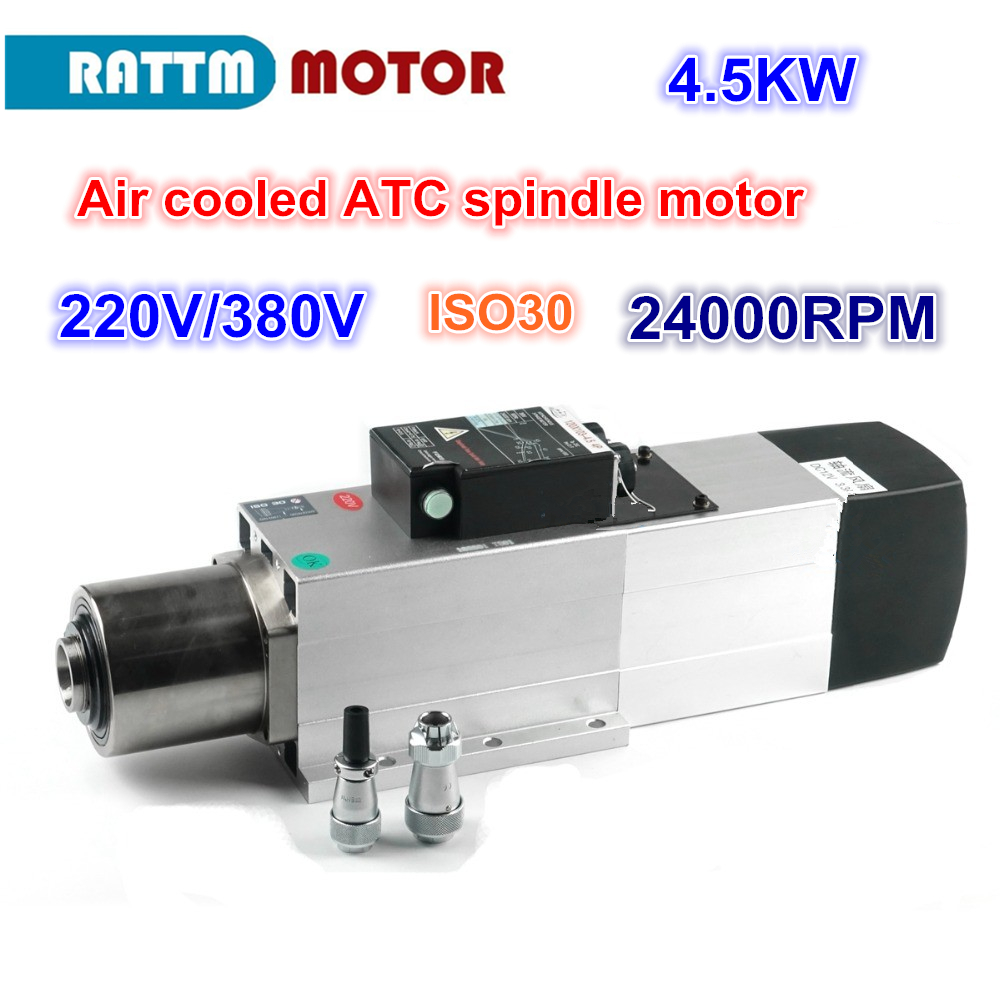 4.5KW ATC Air cooled spindle motor 24000RPM ISO30 220V 380V Automatic Tool Change spindle for woodworking cnc router 9kw 24000rpm 380v 220v long head iso30 atc air cooled automatic tool change spindle