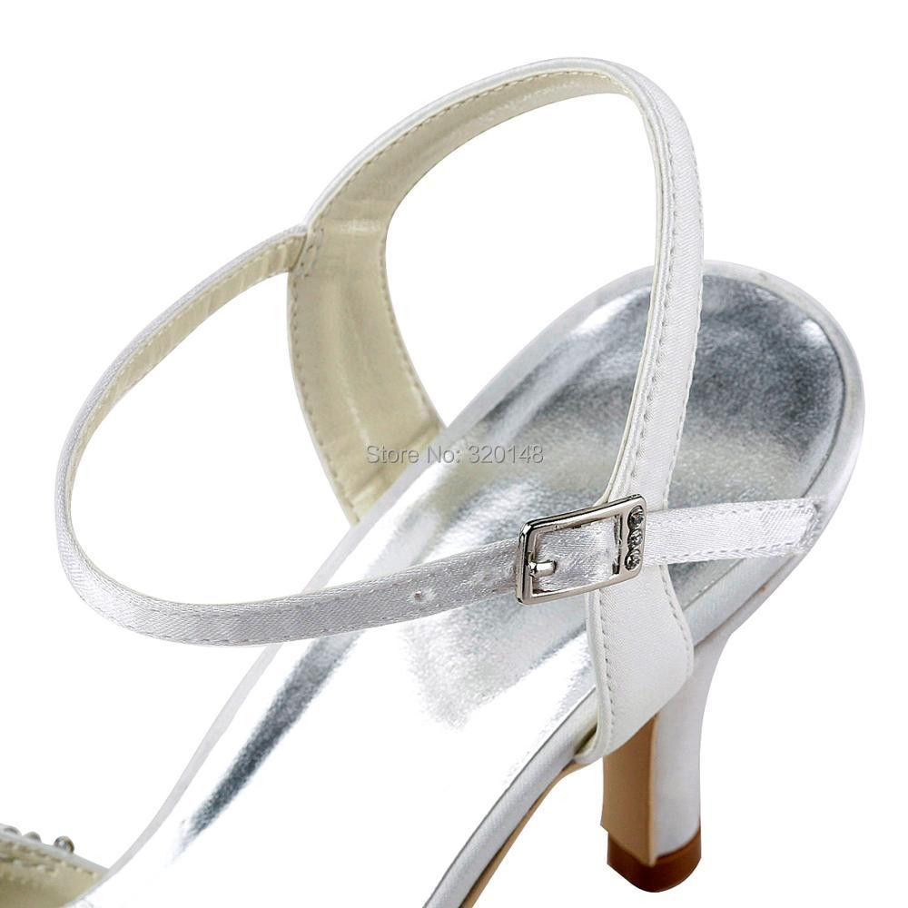 Frau hochzeit schuhe high heels braut Weiß Elfenbein Spitze Zehen ...