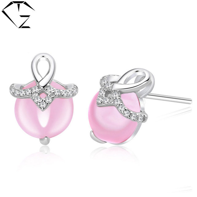 GZ 925 Silver Earrings Natural Rose Quartz Women MARCASITE 100% S925 Sterling Silver boucle d'oreille Stud Earring Jewelry