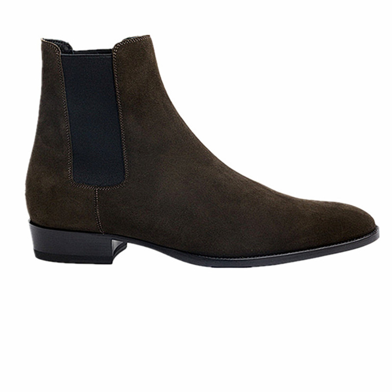 New 2019  autumn patchwork deep brown  suede vintage casual western style  boots short ankle Chelsea boots