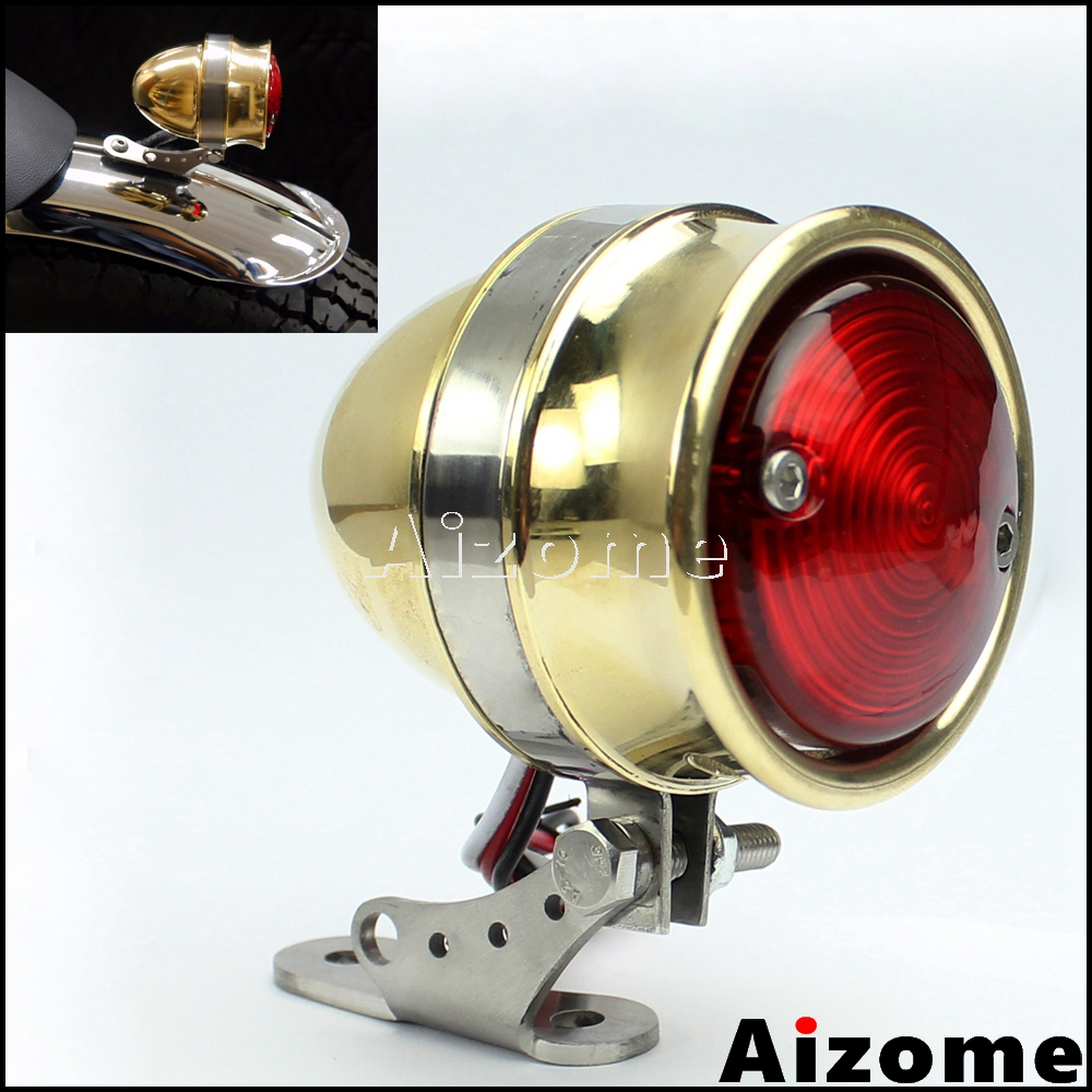 Motorcycle Brass LED Taillight Lamp w//Number Plate Bracket For Harley Chopper