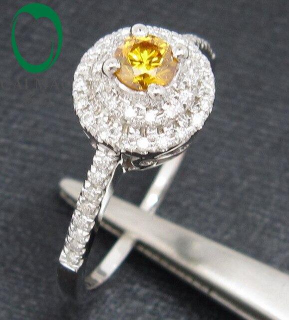 Ювелирные изделия естественная желтый сапфир и алмаз 14ct белое золото помолвка кольцо установка
