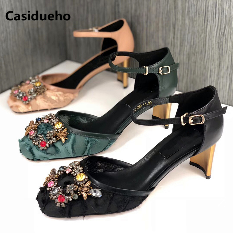 Casidueho Strap Women Pumps Square Toe Gladiator Sandals Women Thick High Heels Office Shoes Woman Rhinestone Fringe Slippers women chic champagne patent leather sandals square thick high heels pumps covered heel single strap gladiator shoes golden pumps