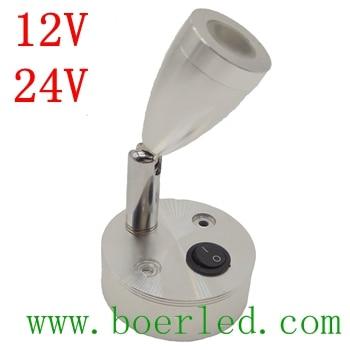 FREE SHIPPING 2W 12V 24V RV CARAVN CAMPER WALL BEDSIDE LED LAMP