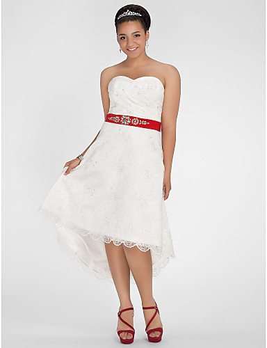 Off The Shoulder Short Front Long Back Lace White Red Ribbon 2013 ...