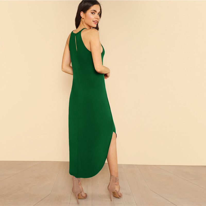 COLROVIE Keyhole Back Halter Curved Hem Party Dress 2018 New Green Loose Sleeveless Summer Dress Halter Shift Long Women Dress 7