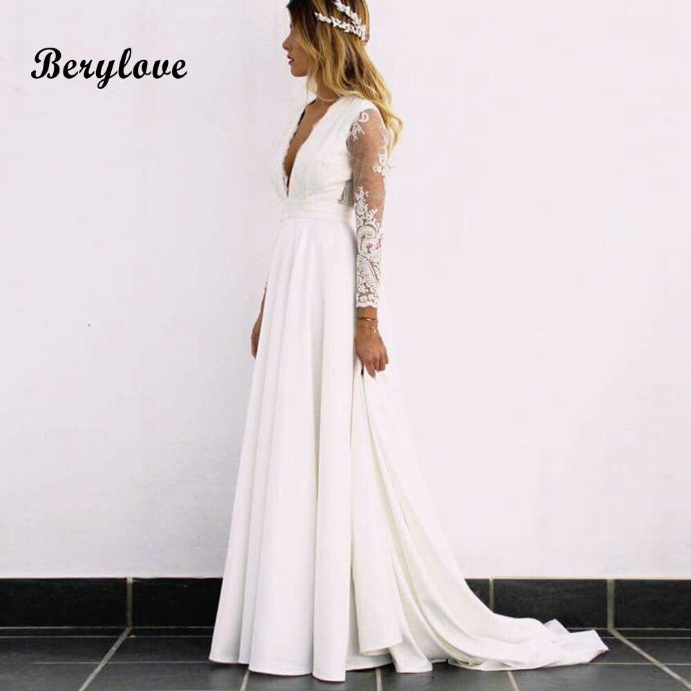 147d05ee7d1 BeryLove Boho Long Sleeves Wedding Dresses Elegant Open Back Lace Wedding  Gowns 2019 Bridal Gowns Dresses