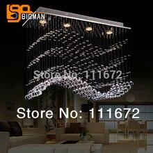 Современная Волна кристалл лампы Главная люстры светодиодный свет длина 70 см
