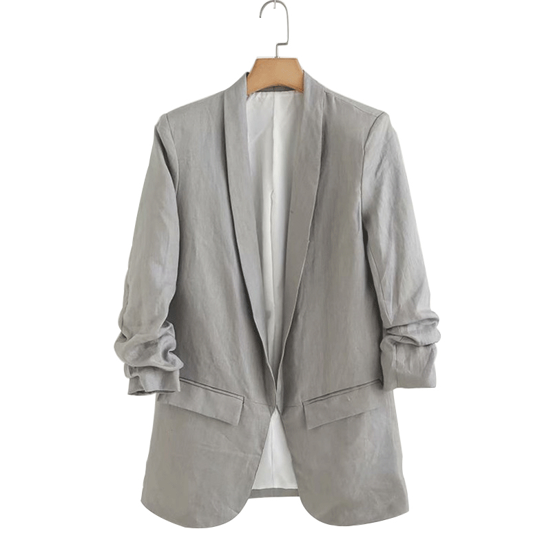 Aibo Carla Autumn Blazer Feminino Solid Color Women Blazers and Jackets Ladies Pleated Sleeves Casual Blazer Long Style
