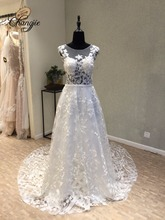 Luxury Wedding Dresses Plus Size Lace Appliques 2017 Sheer Neck Sleeveless Backless Sweep Train Bridal Gowns Robe De Mariage