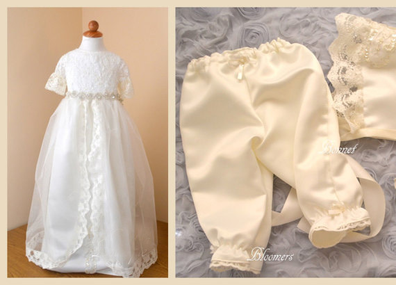 цена  2016 Crystal Belt Pearls Lace First Communion Dress Blessing Heirloom Christening Gown with Bonnet Pants Baby Girls Baptism Robe  онлайн в 2017 году