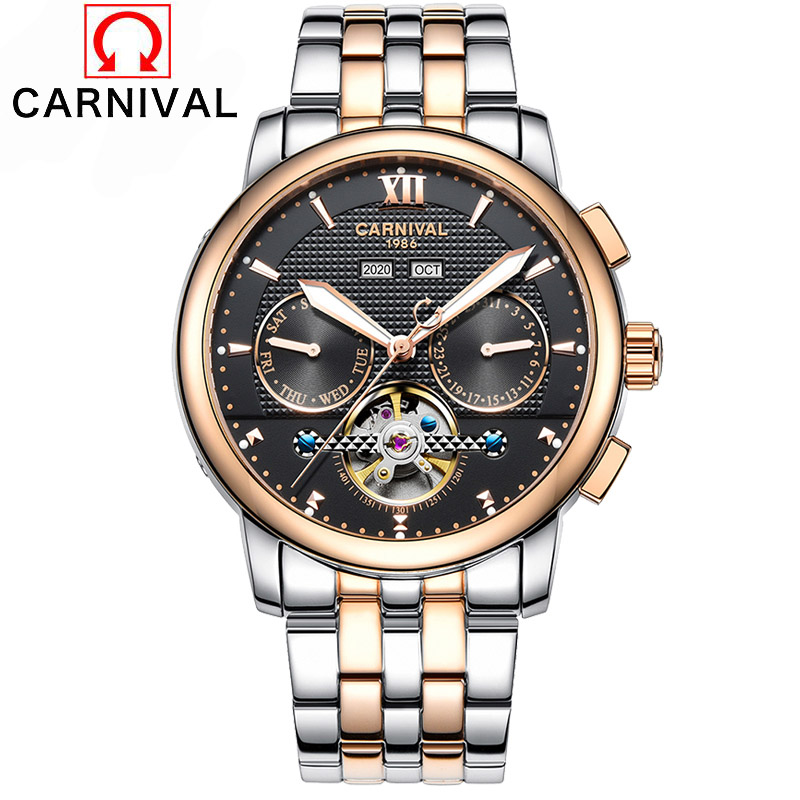 2017 Luxury Brand Year month week function Men Full Stainless Steel Business Watches Tourbillon mechanical Clock Men Wrist Watch mg orkina luxury tourbillon automatic self wind watches men mechanical auto date month week wrist watch men clock wristwatches