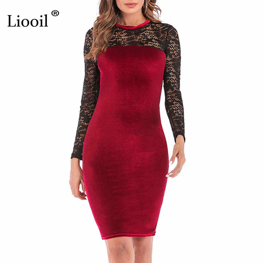 4af8d4160262 ... Liooil Sexy Lace Velvet Christmas Dress Women New 2019 Spring Casual  Womens Clothing Red Green Black ...