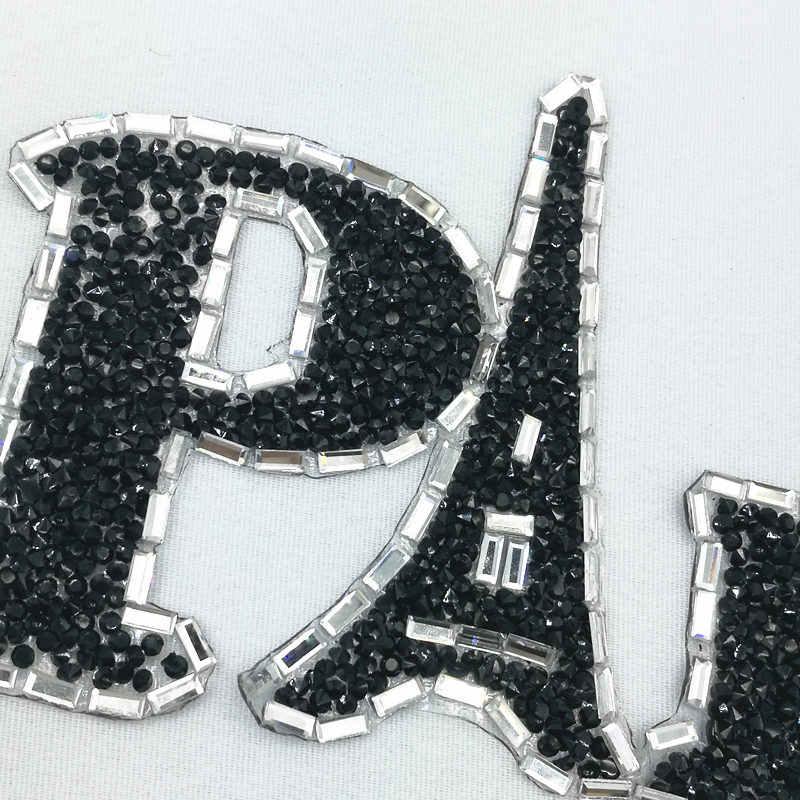 Brillante anillo de imitación letra patrón bordado hierro-on parche ropa parches moda lentejuelas zapatos/sombreros/bolsas apliques