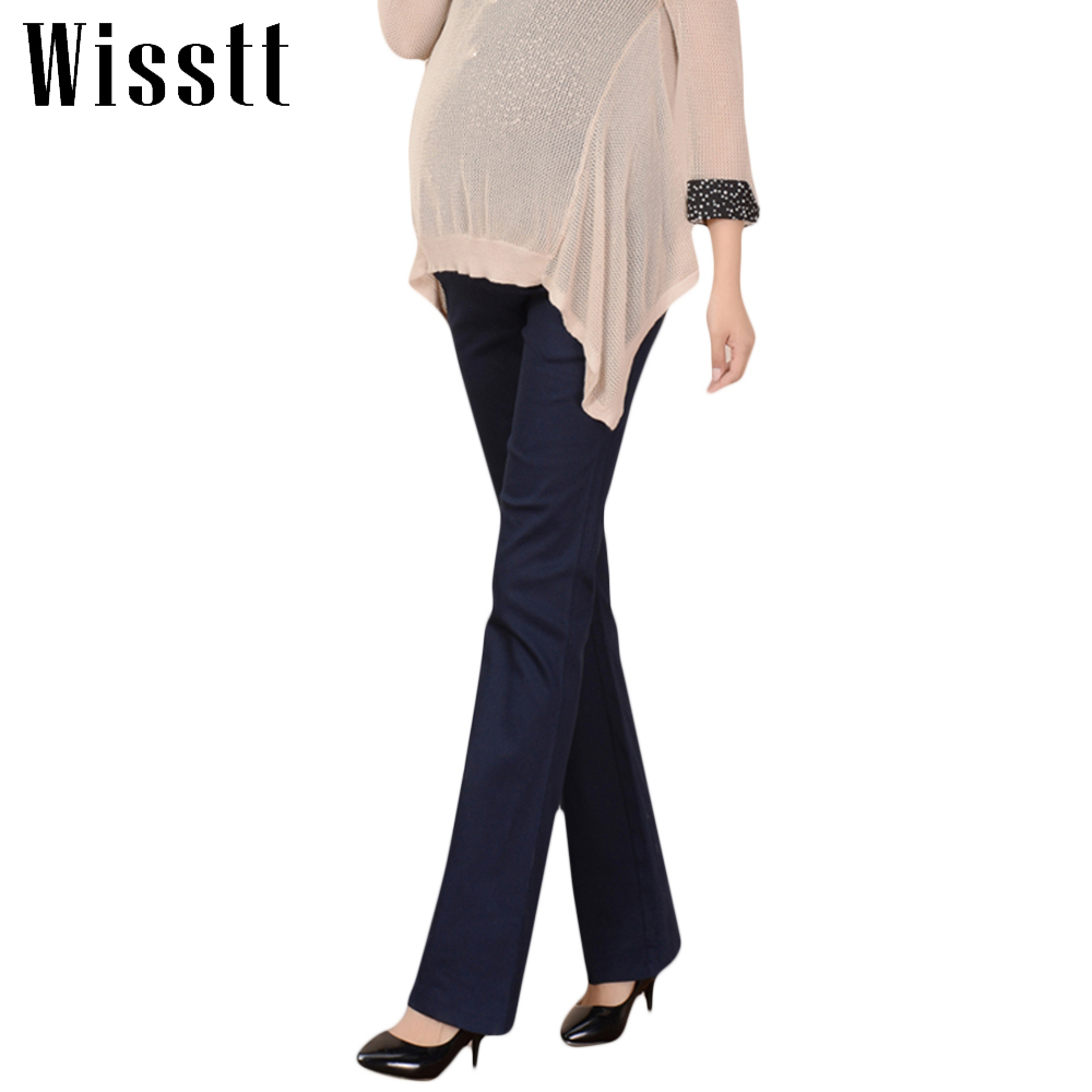 Wisstt Plus Size Maternity Pants Pregnant Abdomen Wide Leg Office Bell-Bottom High Waist Solid Formal Straight Trousers