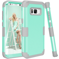 Shockproof Phone Cases For Samsung Galaxy S8 PC TPU 3 Layers Hybrid Full Body Protect Case