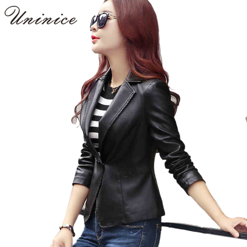 Pu leather women blazers jackets new cool blazer women blazer coat casual one button leather blazer