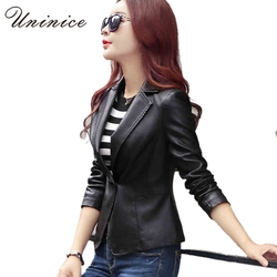 Pu leather women blazers jackets new cool blazer women blazer coat casual one button leather blazer.jpg 250x250