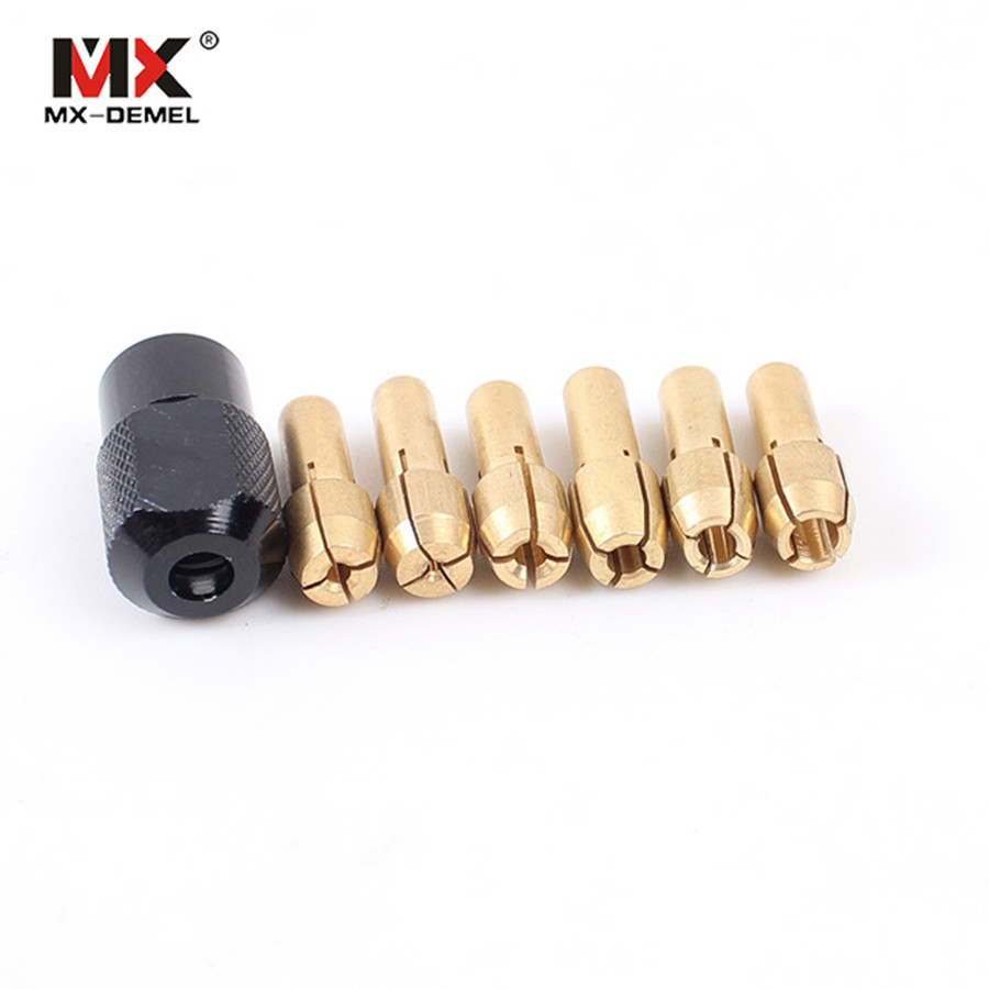 MX-DEMEL 7Pcs Dremel Brass Collet M8 * 0.75mm 1.0 / 1.6 / 2.0 / 2.4 / 3.0 / 3.2mm Fits Dremel Style Rotary Tools Accessories