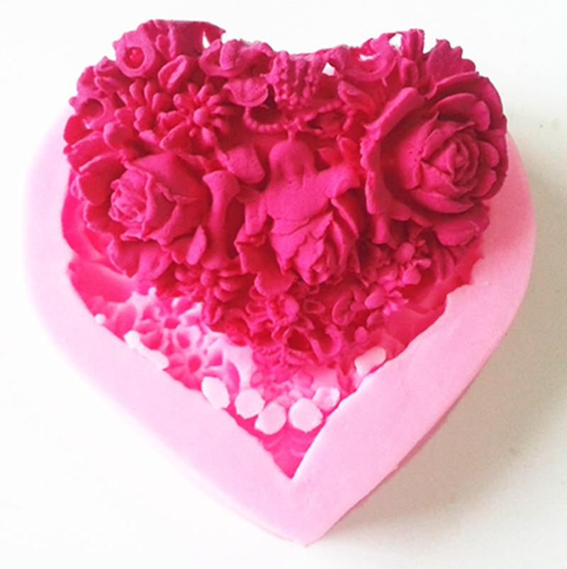 Love Shape Cake Decoration : Design 9227 Love Shape Rose Flower Silicon Mold, Sugar ...