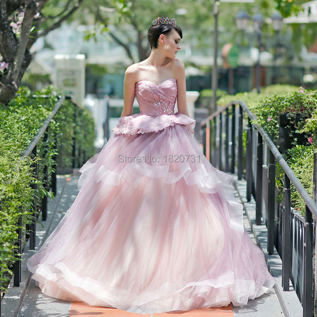 2017 princesa rosa vestidos de quinceañera sweet 16 vestido de bola de lujo cariño rebordear vestido de bola del partido vestido de fiesta vestidos de novia