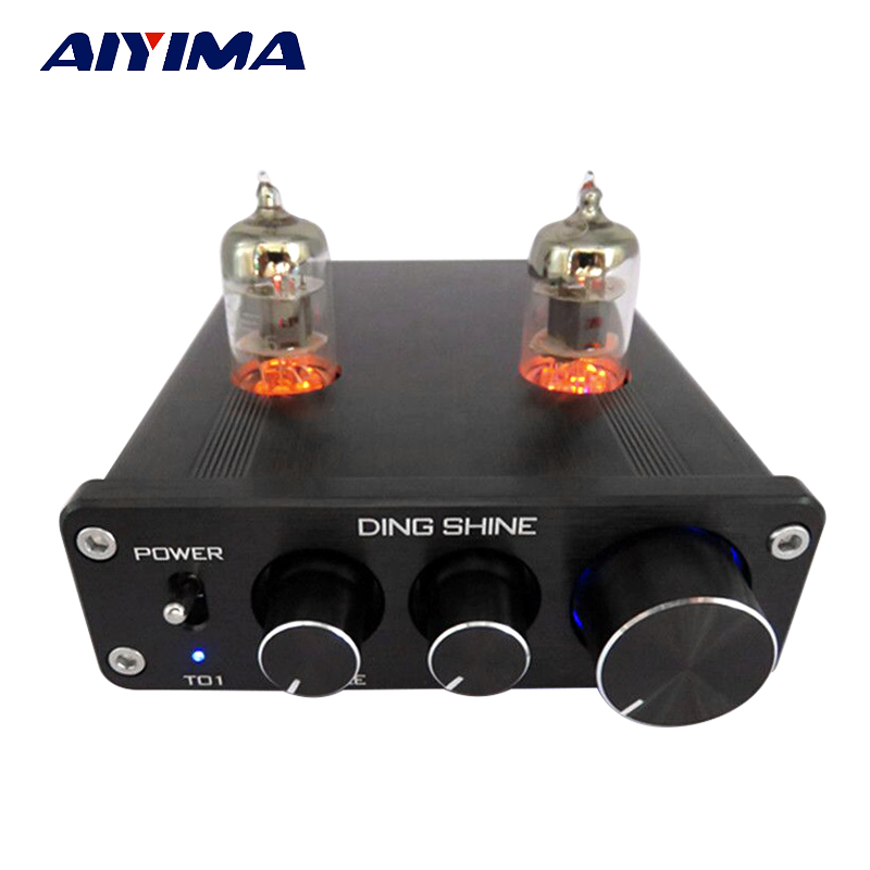 Aiyima Tube Amplificateur Préampli HiFi 6J1 Tube Préamplificateur Conseil Avec NE5532 Tone 12 V Alimentation