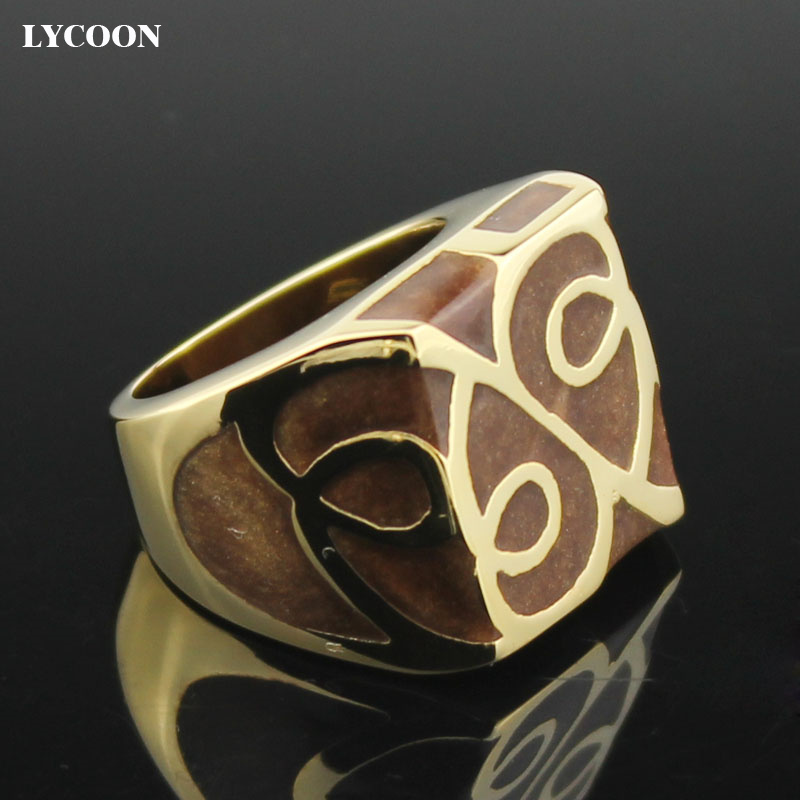 LYCOON hot sale man or woman square ring 316L stainless steel in gold - Fashion Jewelry