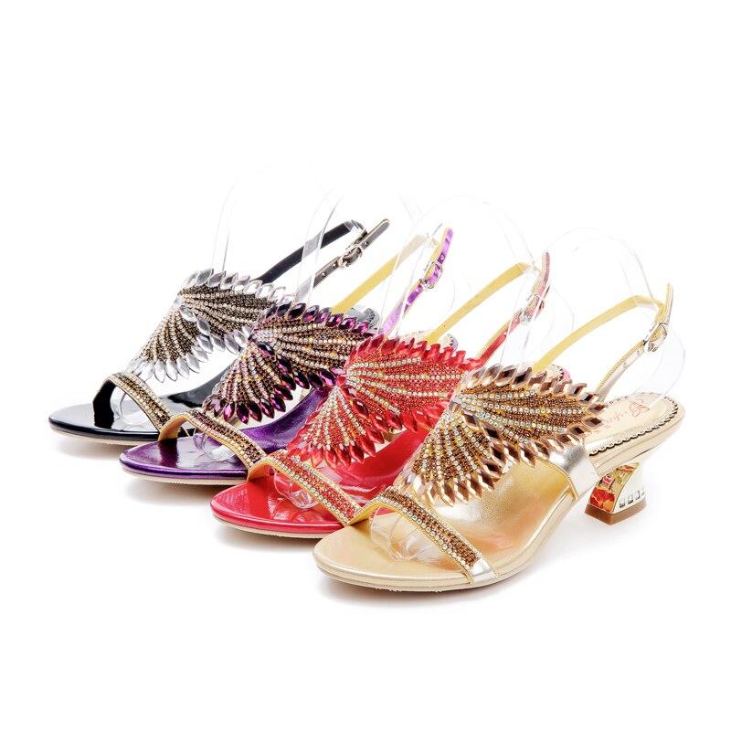Sapatas Bohemia Open do Wedding Rhinestone Toes scarpe Sandalo oro