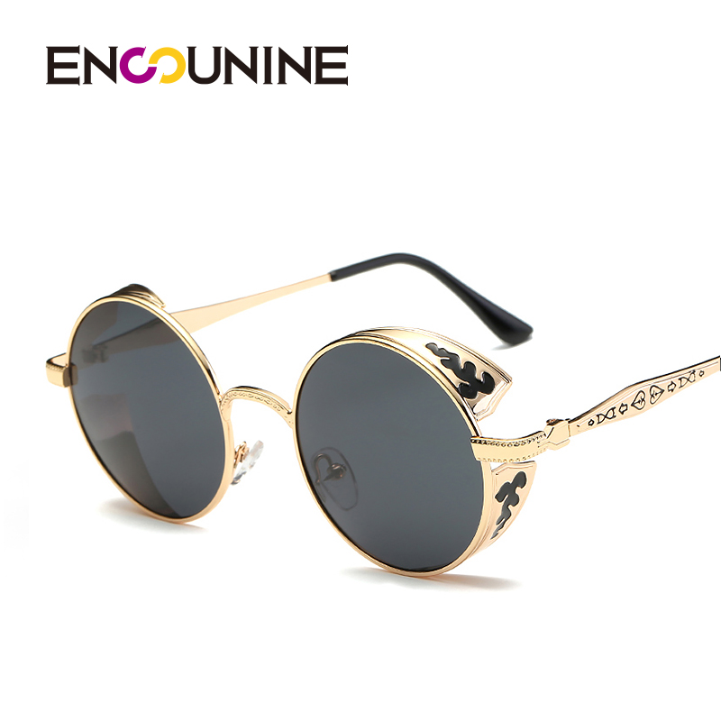 22c6bb78636 ENSUNINE Brand Steampunk Round Polarized Unisex Women Men Sunglasses 2017 Floral  Printed Metal Wide Frame Mens Sunglases UV400-in Sunglasses from Apparel ...